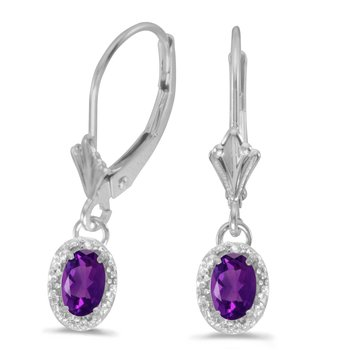 14k White Gold Oval Amethyst And Diamond Leverback Earrings
