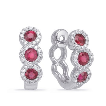 White Gold Ruby & Diamond Huggie Earring