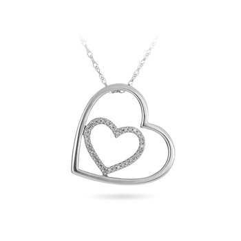 925 Sterling Silver and Diamond Heart Pendant