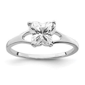 Sterling Silver Rhodium-plated CZ Butterfly Ring