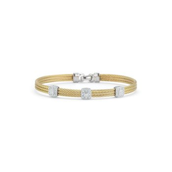 Yellow Cable Classic Stackable Bracelet with Triple Square Station set in 18kt White Gold