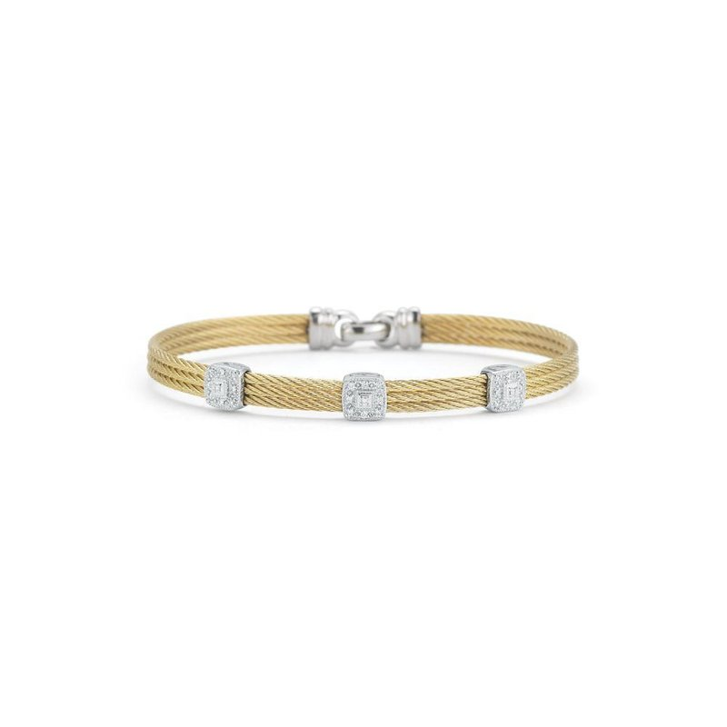 ALOR Yellow Cable Classic Stackable Bracelet with Triple Square Station set in 18kt White Gold