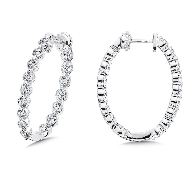 Caro74 Locking Reflection Diamond Hoops in 14K White Gold with Platinum Post