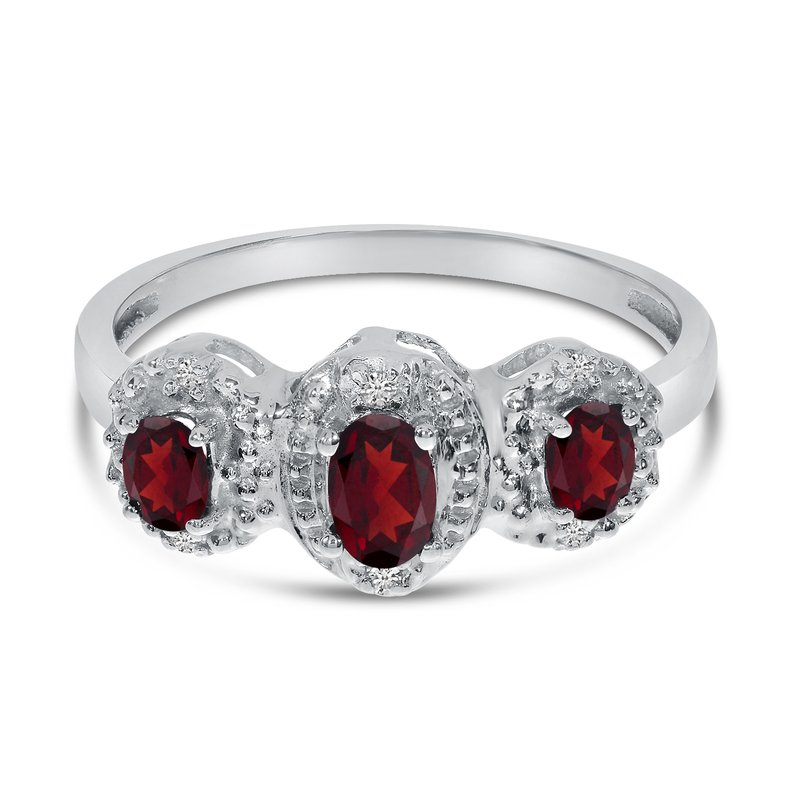 Color Merchants 14k White Gold Oval Garnet And Diamond Three Stone Ring