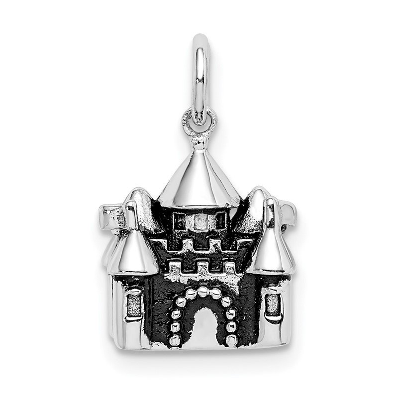 Quality Gold Sterling Silver Rhodium-plated Antiqued Castle Pendant