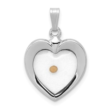 Sterling Silver Rhodium-plated Large Heart with Mustard Seed Pendant