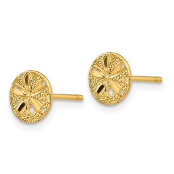 14k Diamond-Cut Sand Dollar Post Earrings