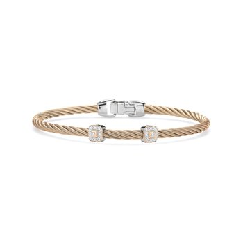 Carnation Cable Essential Stackable Bracelet with Double Square Diamond Station set in 18kt Rose Gold