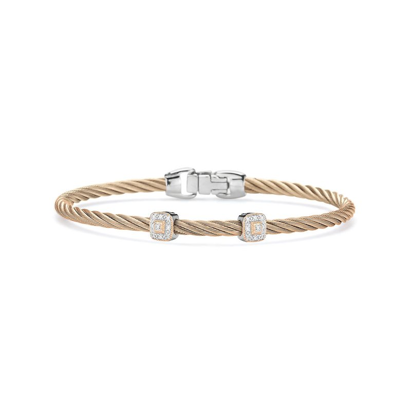 ALOR Carnation Cable Essential Stackable Bracelet with Double Square Diamond Station set in 18kt Rose Gold