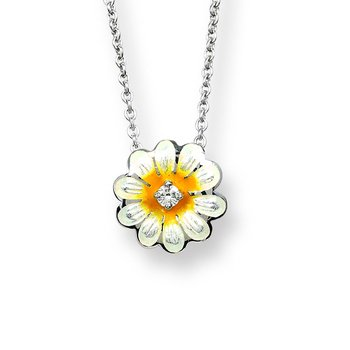 White Daisy Necklace.Sterling Silver-White Sapphire