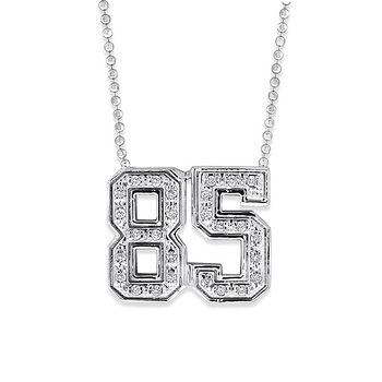 Diamond Jersey Number 85 Necklace in 14k White Gold with 27 Diamonds weighing .14ct tw.