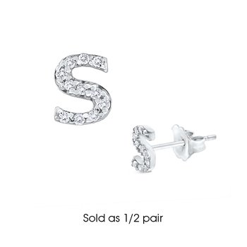 "Diamond Single Initial ""S"" Stud Earring (1/2 pair)"