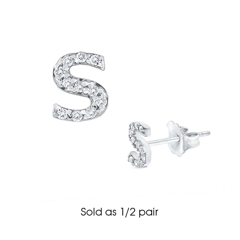"MAZZARESE Fashion Diamond Single Initial ""S"" Stud Earring (1/2 pair)"