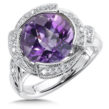 Sterling silver, purple amethyst and diamond ring
