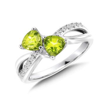 Trillion-Cut  Peridot and Diamond Criss-Cross Ring