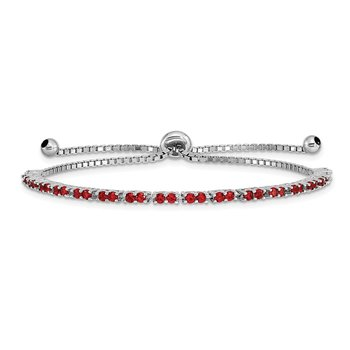 Sterling Silver Rhodium Plated July Red CZ Adjustable Bracelet