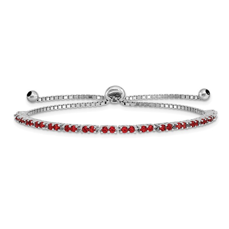 Quality Gold Sterling Silver Rhodium Plated July Red CZ Adjustable Bracelet