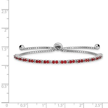 Sterling Silver Rhod-plated July Red CZ Adjustable Bracelet