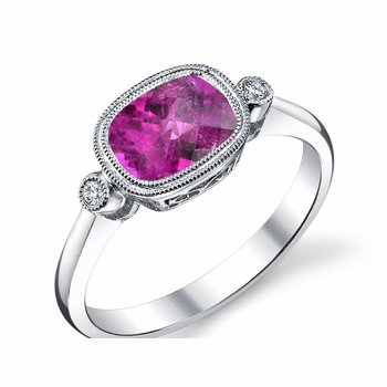 White Gold Pink Tourmaline Ring with Diamonds