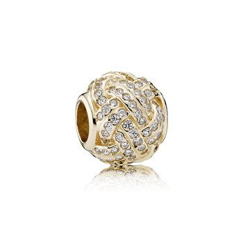 Sparkling Love Knot, 14K Gold Clear Cz