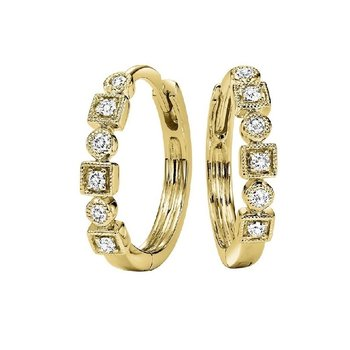 10K Yellow Gold Mixable Bezel Diamond Earrings 1/7CT