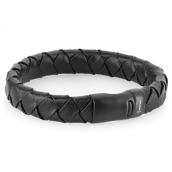Italgem Steel Leather Bracelet