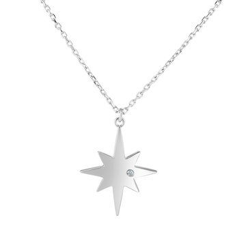 Silver Polished North Star Diamond Accent Necklace