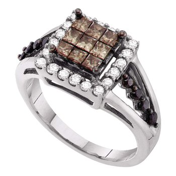 14kt White Gold Womens Princess Cognac-brown Color Enhanced Diamond Cocktail Ring 1.00 Cttw