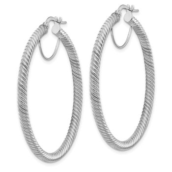10k 3x35 White Gold Twisted Round Hoop Earrings