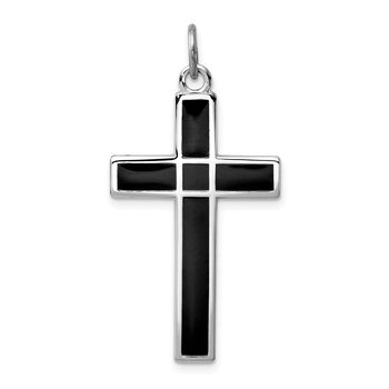 Sterling Silver Rhodium-plated Brshed & Polished Enml Black Cross Pendant