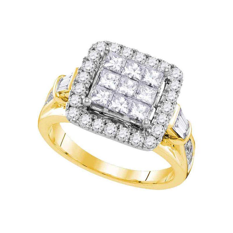 Gold-N-Diamonds, Inc. (Atlanta) 14kt Yellow Gold Womens Princess Diamond Cluster Bridal Wedding Engagement Ring 2.00 Cttw
