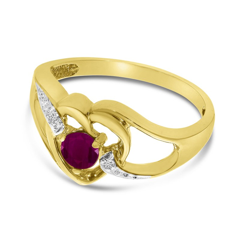 Color Merchants 14k Yellow Gold Round Ruby And Diamond Heart Ring