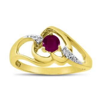 14k Yellow Gold Round Ruby And Diamond Heart Ring