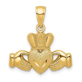 14k Polished/Textured Claddagh Pendant