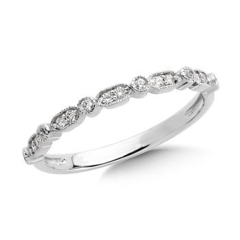 Pave set Diamond Open Heirloom Design Stackable, Anniversary Ring set in 14k White Gold (1/4ct. tw.) HI/SI2-SI3