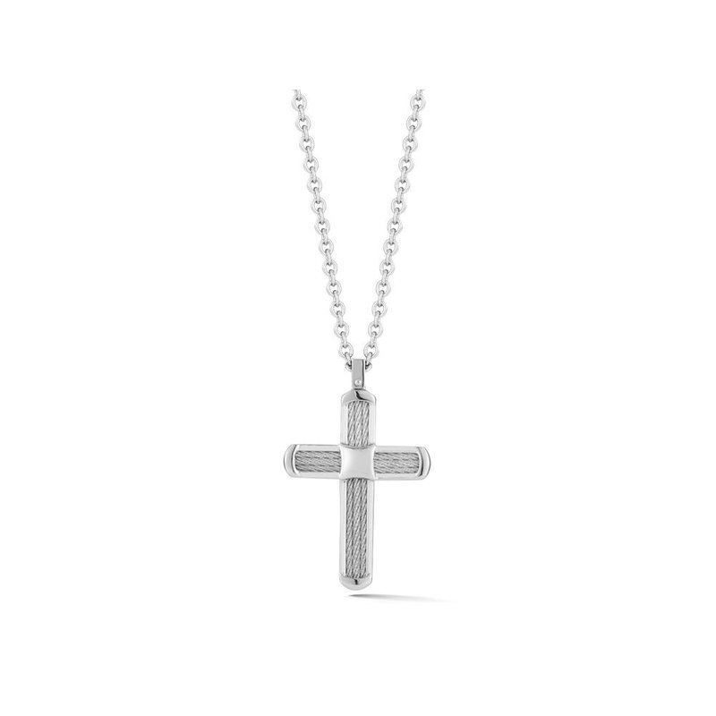 ALOR Grey Cable Cross Necklace on Grey Chain with 18kt Yellow Gold