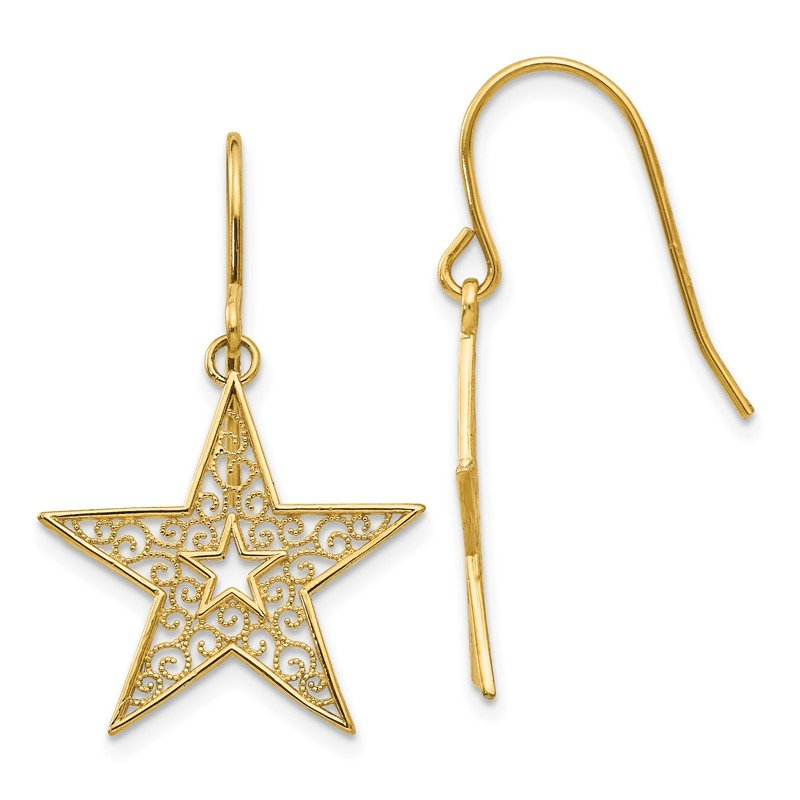 Quality Gold 14k Filigree Star Shepherd Hook Earrings