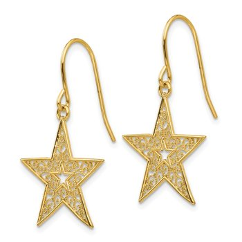 14k Filigree Star Shepherd Hook Earrings