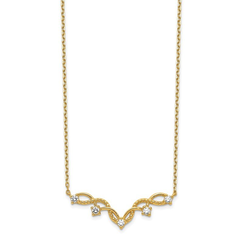 Quality Gold 14K Woven Bar CZ with 2IN EXT Necklace