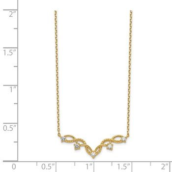 14K Woven Bar CZ with 2IN EXT Necklace