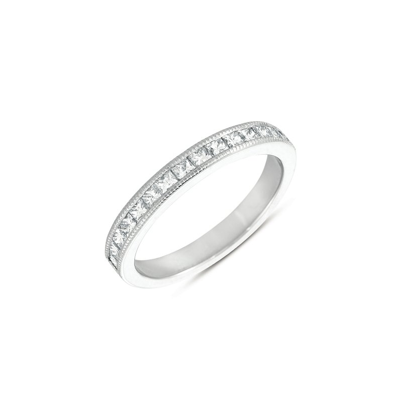 S. Kashi & Sons Bridal White Gold Princess Band with Millgrain