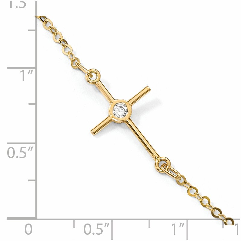 Leslie's Leslie's 14K Polished CZ Cross Anklet