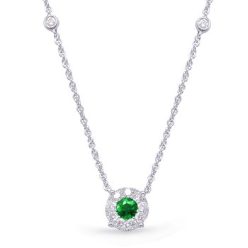 White Gold Diamond & Emerald Necklace