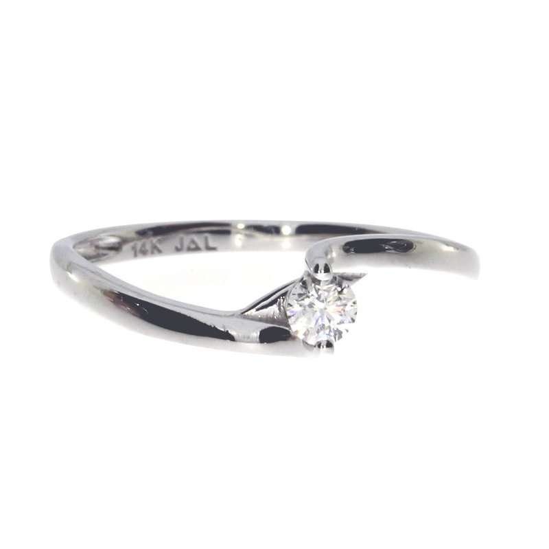 Color Merchants 14K White Gold Bypass Diamond Ring