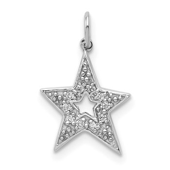 14k White Gold 1/20ct. Diamond Star Charm