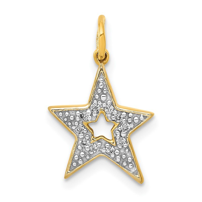 Quality Gold 14k White Gold 1/20ct. Diamond Star Charm