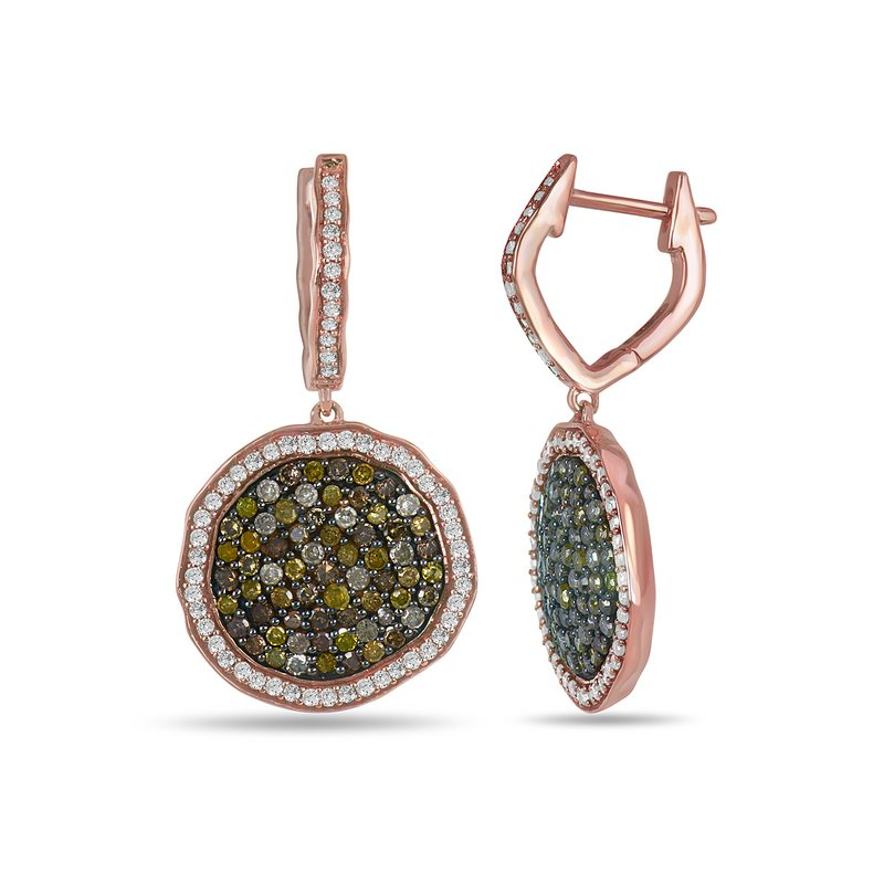 BB Impex 10K RG and Multi colored Diamond irregular shape Ear-Ring Pave Set
