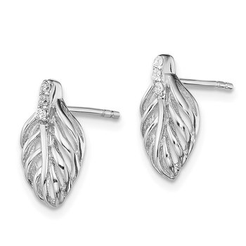 Sterling Silver Rhodium-plated CZ Leaf Post Earrings