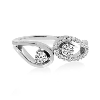 14K White Gold Eyelet Design Two-Stone Diamond Ring