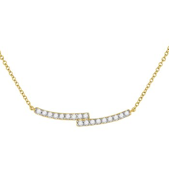 14kt Yellow Gold Womens Round Diamond Double Bar Bypass Pendant Necklace 1/2 Cttw